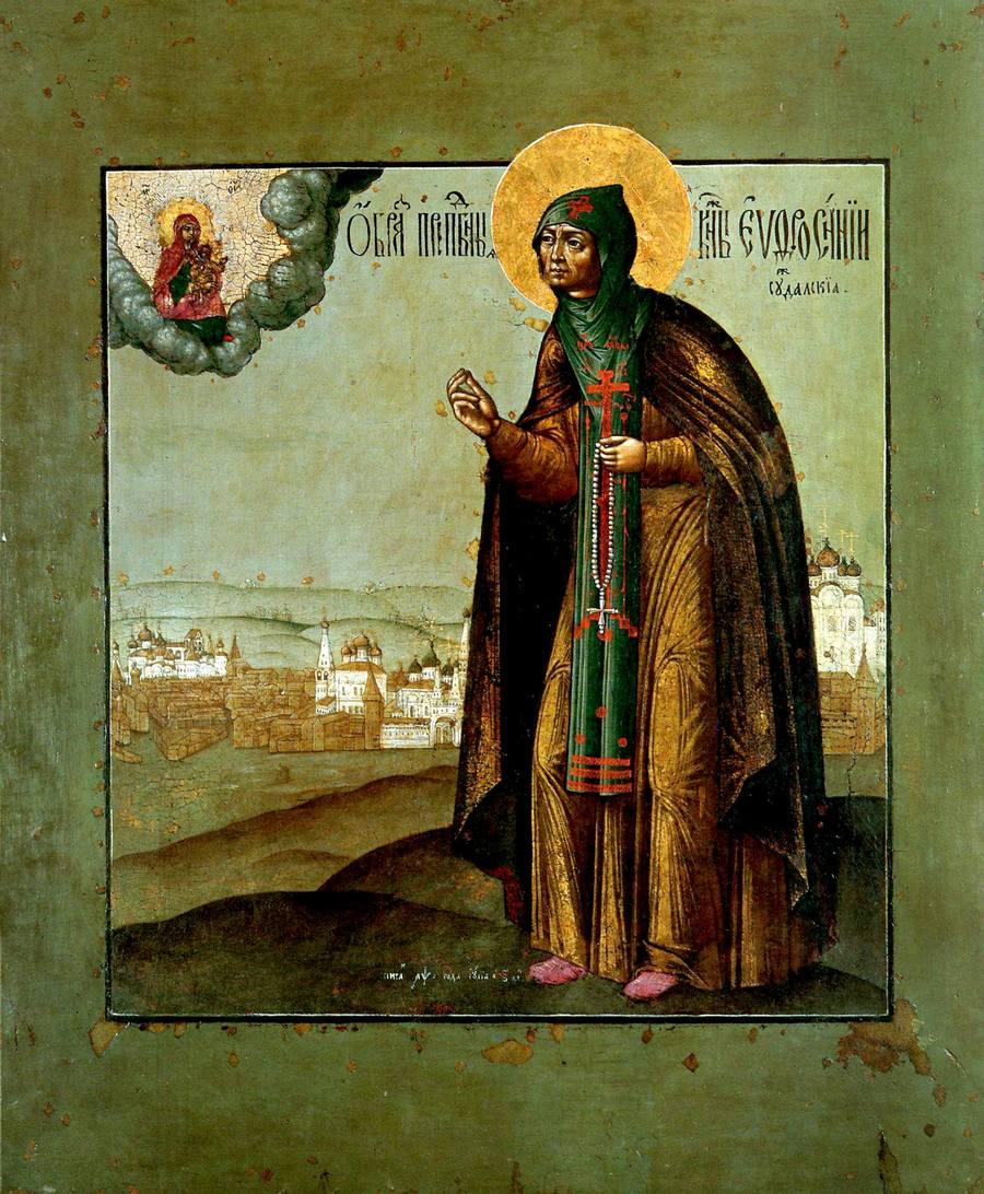 Святая Преподобная Евфросиния Суздальская. Икона. Россия, 1700 год.