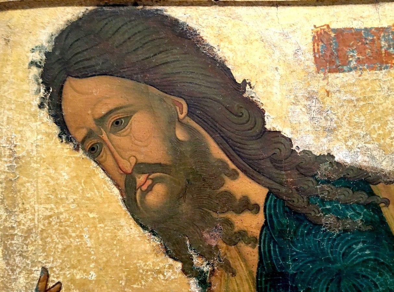 Святой Пророк, Предтеча и Креститель Господень Иоанн. Фрагмент новгородской иконы XVI века.