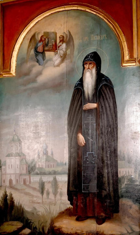 Святой Преподобный Никандр Псковский. Икона. Псковский кремль.