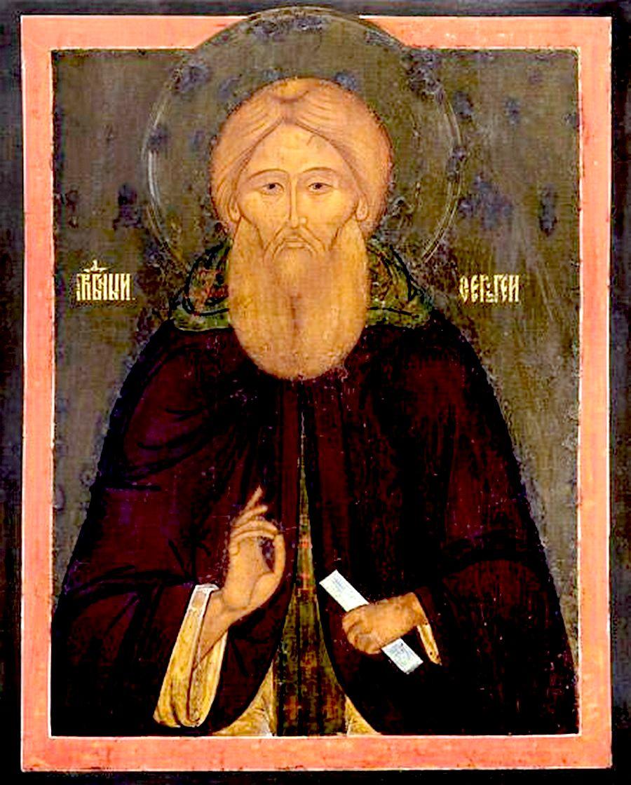 Святой Преподобный Сергий, игумен Радонежский, всея России Чудотворец. Икона конца XVI века.