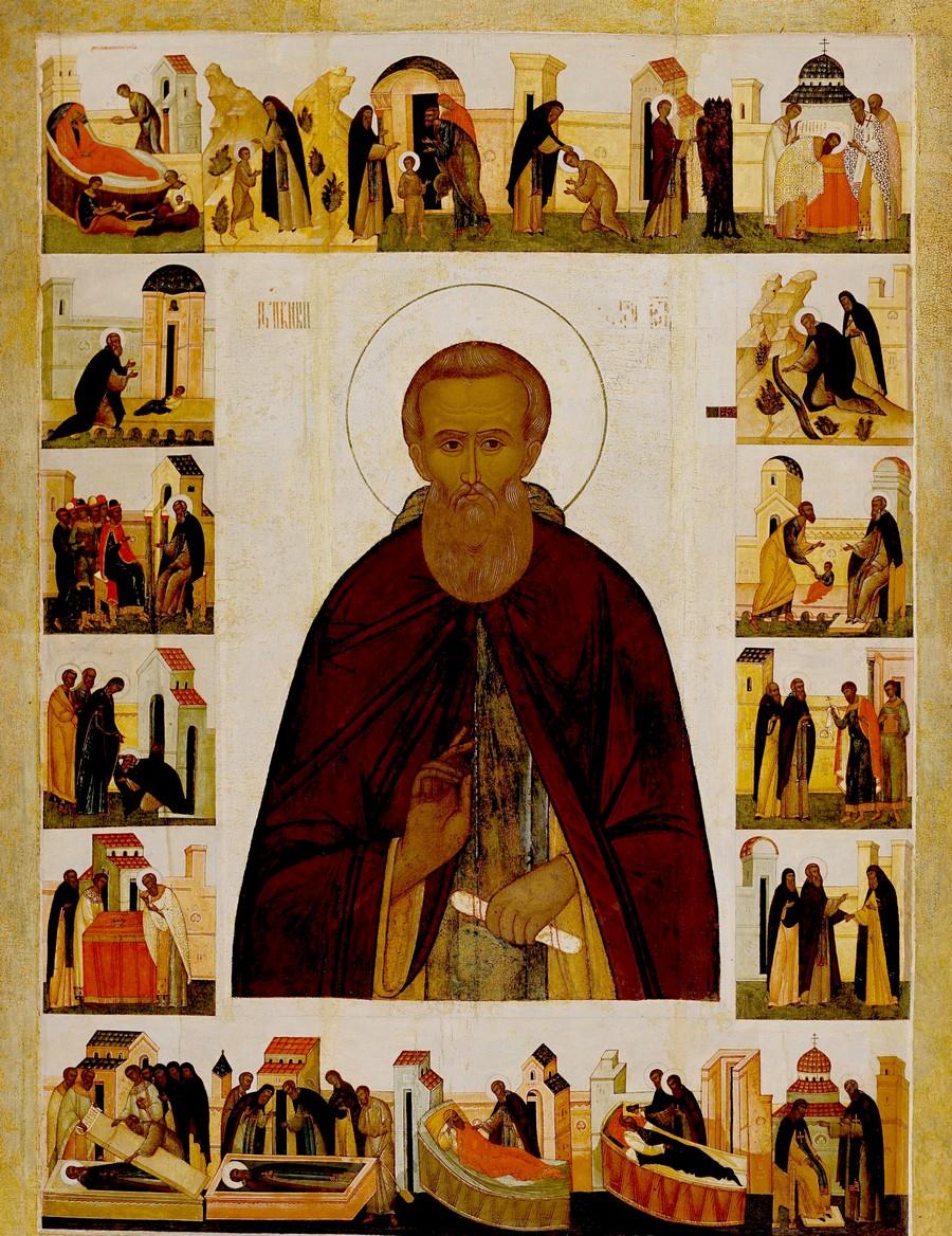 Святой Преподобный Сергий, игумен Радонежский, всея России Чудотворец. Житийная икона середины XVI века, с поновлениями XIX века.