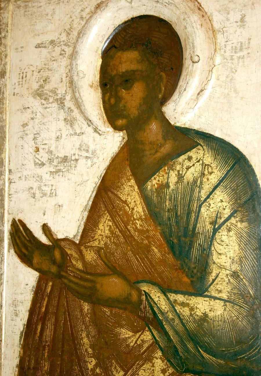 Святой Апостол Фома. Икона происходит из деисусного чина церкви Успения с Пароменья. Псков, около 1444 года. Фрагмент.