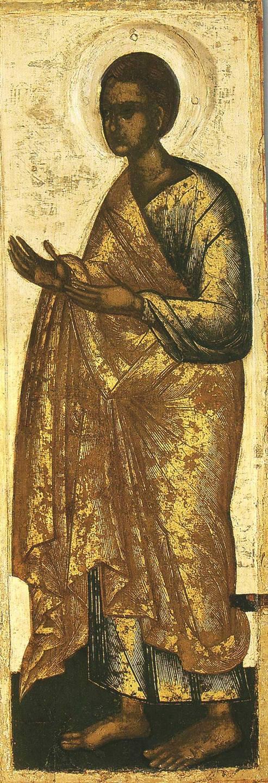 Святой Апостол Фома. Икона происходит из деисусного чина церкви Успения с Пароменья. Псков, около 1444 года.