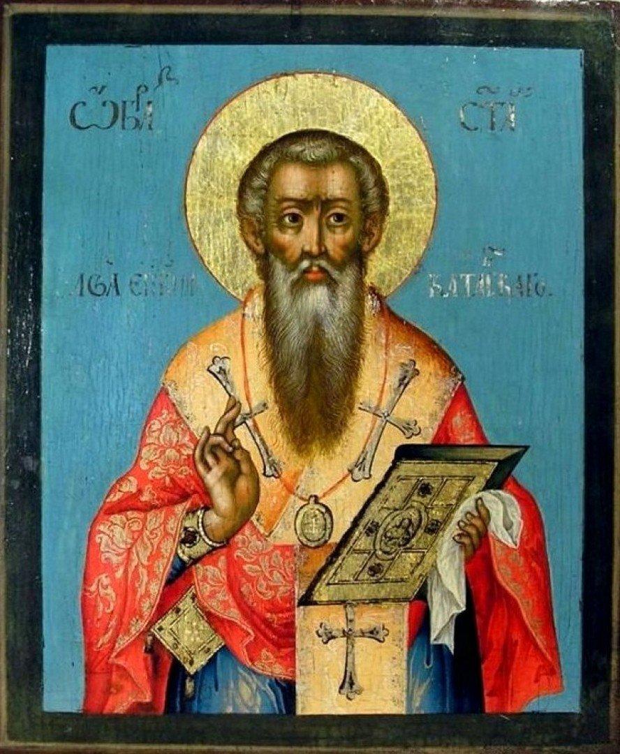 Святой Преподобный Лев, Епископ Катанский. Икона. Великий Устюг, вторая половина XVIII века.