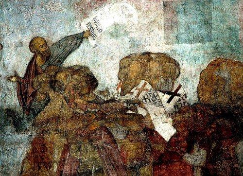 Шествие Праведных в Рай. Фреска Преподобного Андрея Рублёва в Успенском соборе во Владимире. 1408 год.