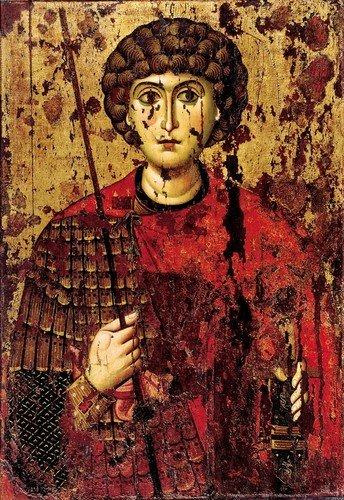 Святой Великомученик Георгий Победоносец. Икона. Русь, около 1170 года. Успенский собор Московского Кремля.