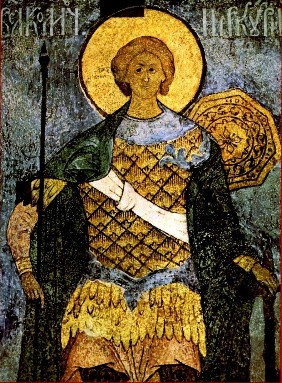 Святой Великомученик Меркурий Кесарийский. Русская фреска.