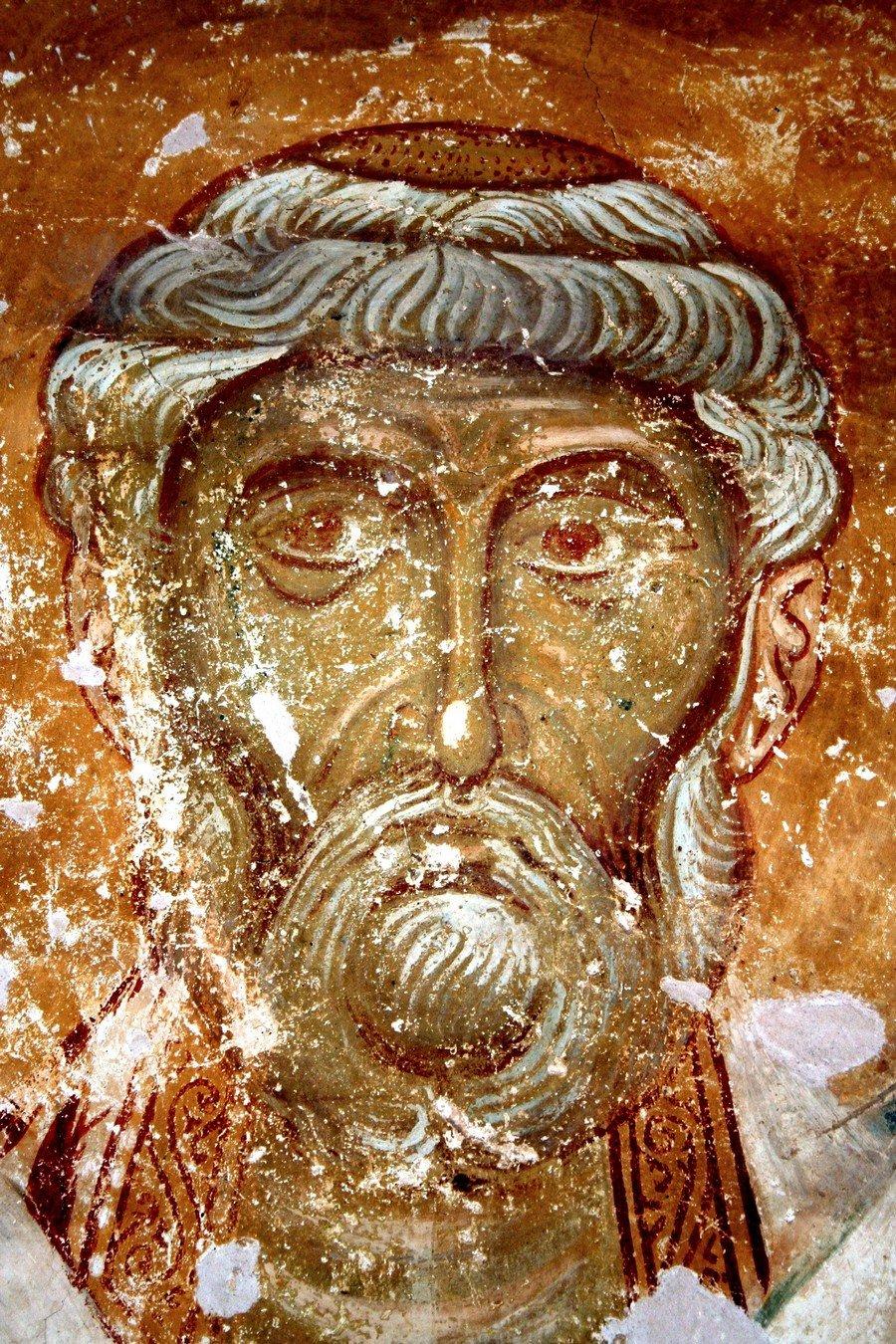 Священномученик Пётр, Архиепископ Александрийский. Фреска церкви Спаса на Нередице близ Новгорода. 1199 год.