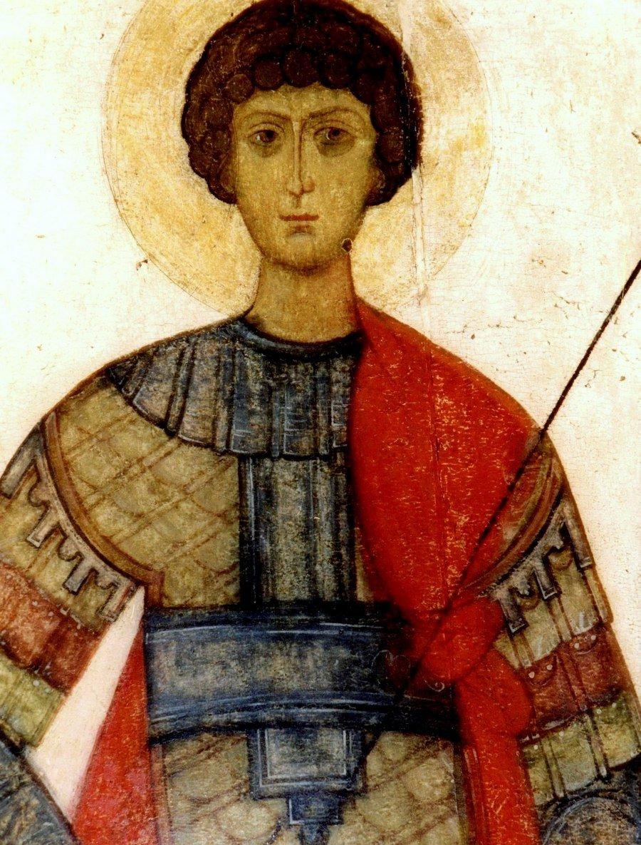Святой Великомученик Георгий Победоносец. Фрагмент иконы. Москва, конец XIV - начало XV вв.