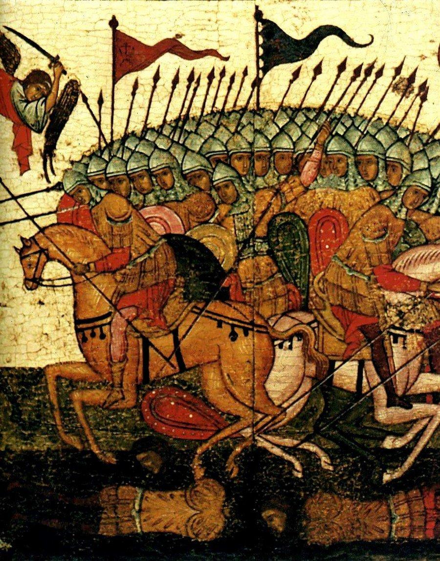 """Чудо от иконы Божией Матери """"Знамение"""". Икона. Новгород, 1460-е годы. Фрагмент. Гибель суздальского войска."""