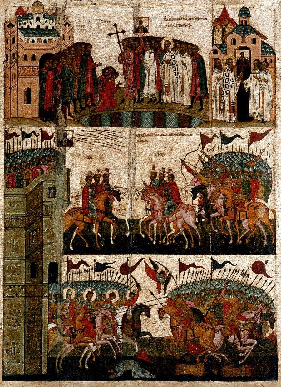 """Чудо от иконы Божией Матери """"Знамение"""". Икона. Новгород, 1460-е годы."""