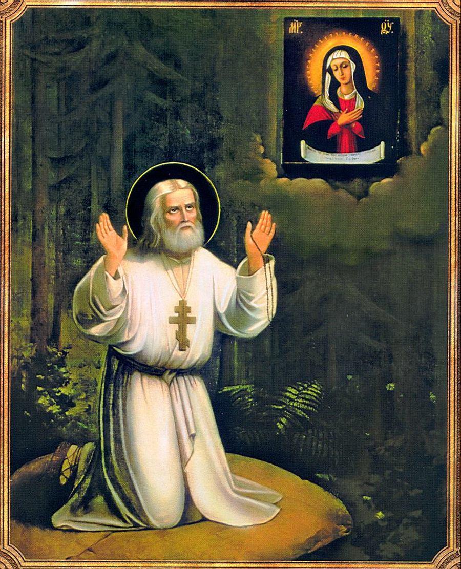 Икона Преподобного Серафима Саровского, написанная Священномучеником Серафимом (Чичаговым).