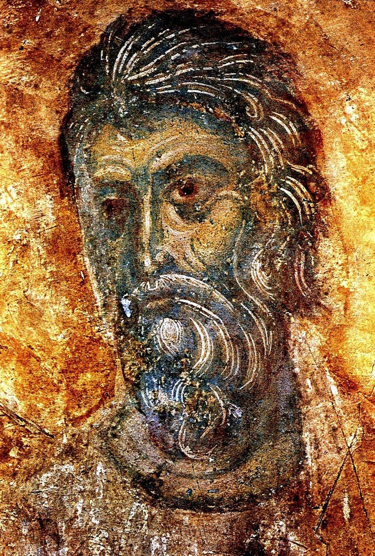 Святой Апостол Андрей Первозванный. Фреска Дмитриевского собора во Владимире. 1197 год.