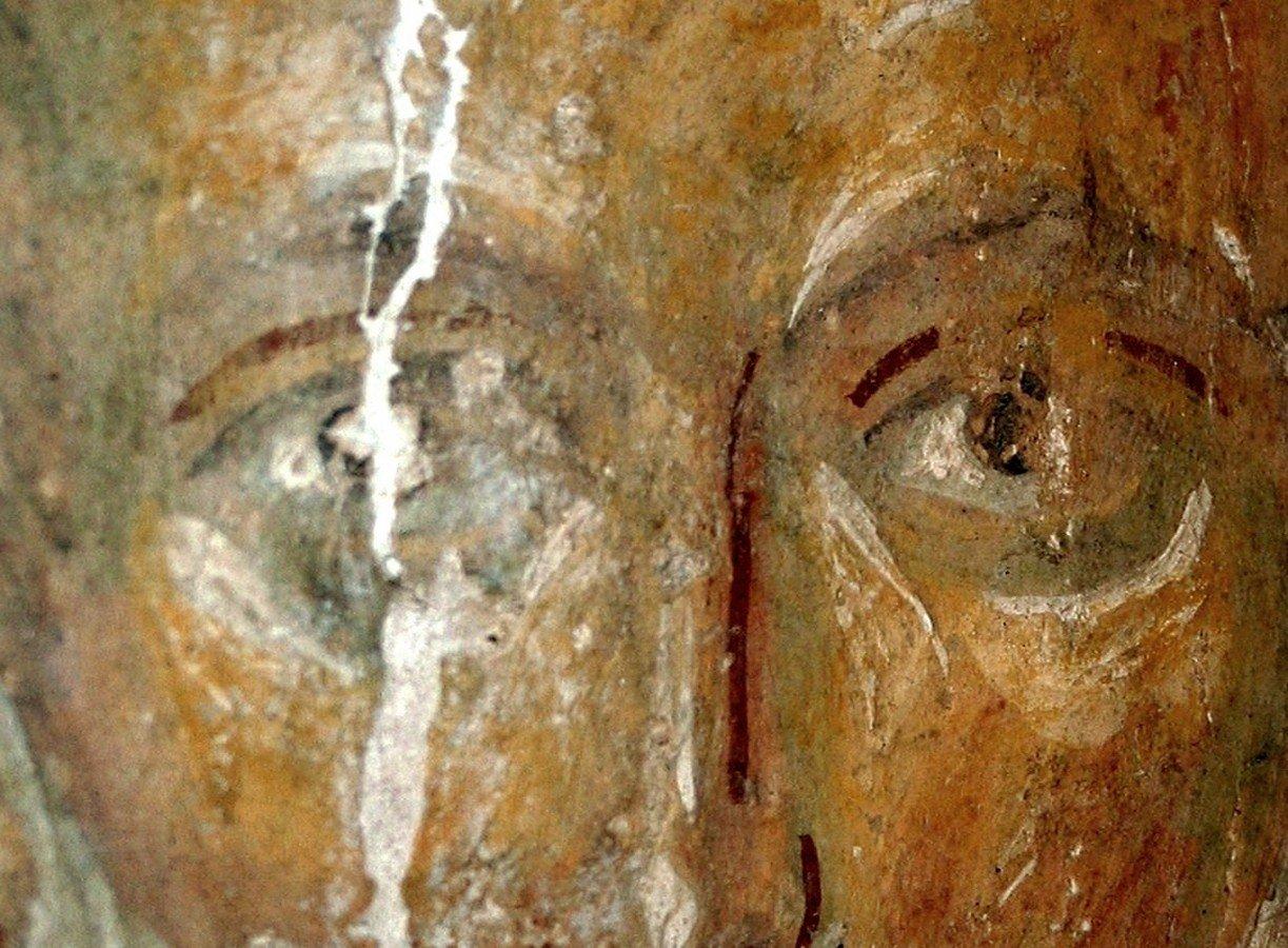 Святой Преподобный Савва Освященный. Фреска церкви Рождества Христова на Красном поле в Новгороде. 1381 - 1382 годы.