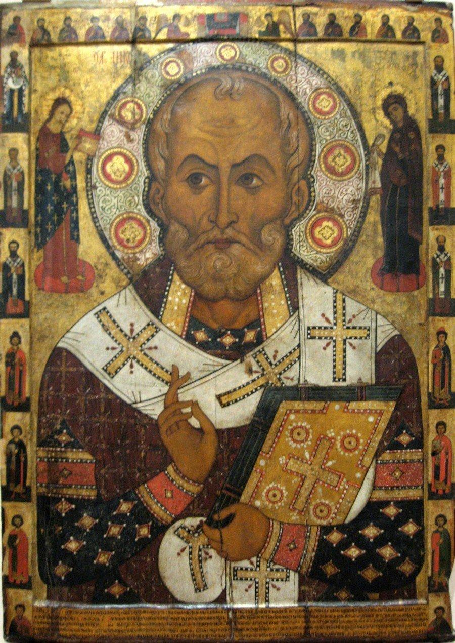 Святитель Николай, Архиепископ Мир Ликийских, Чудотворец. Икона. Новгород, 1294 год. Иконописец Александр (Алекса) Петров.