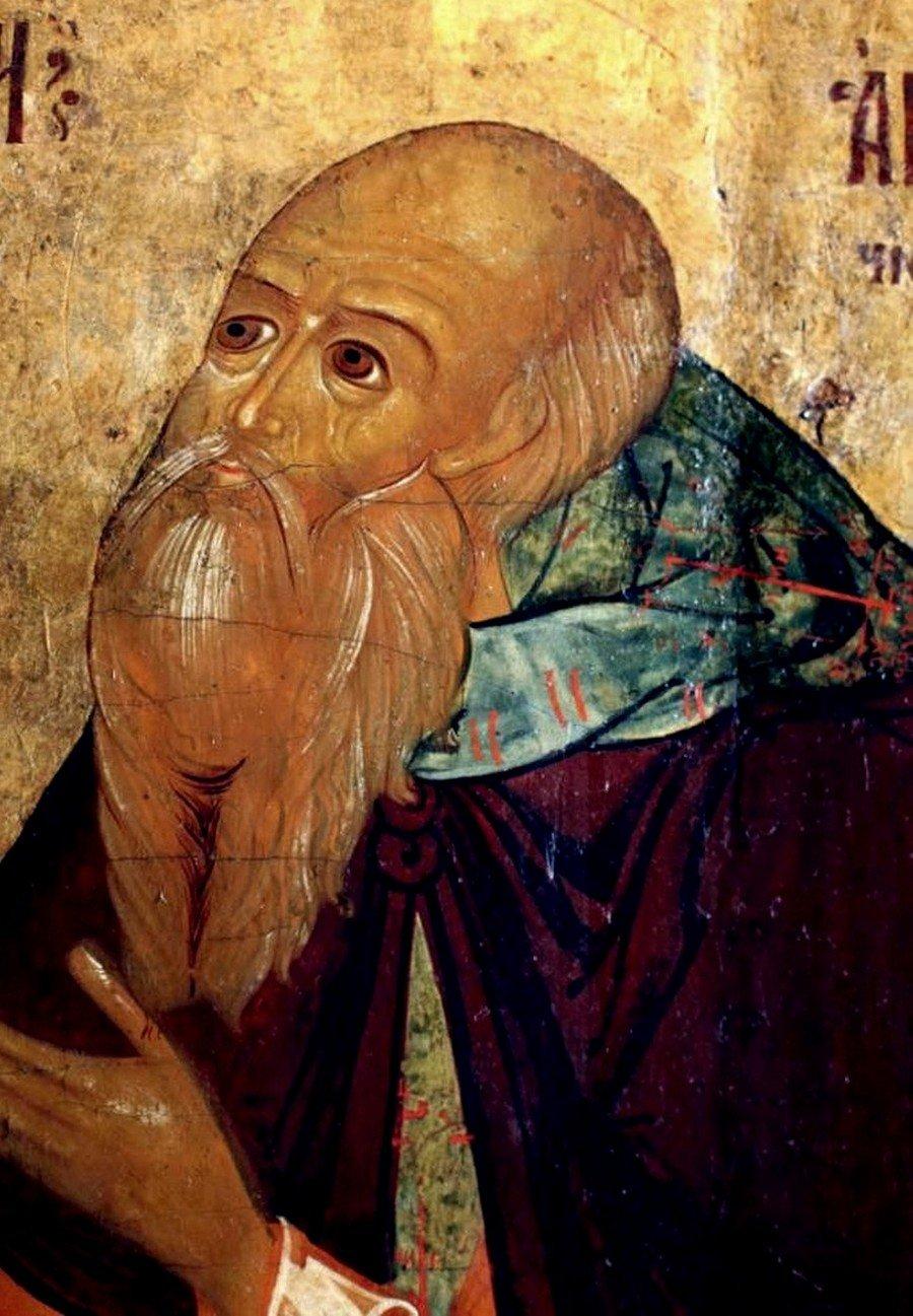 Святой Преподобный Антоний Сийский. Икона XVII века. Лик.