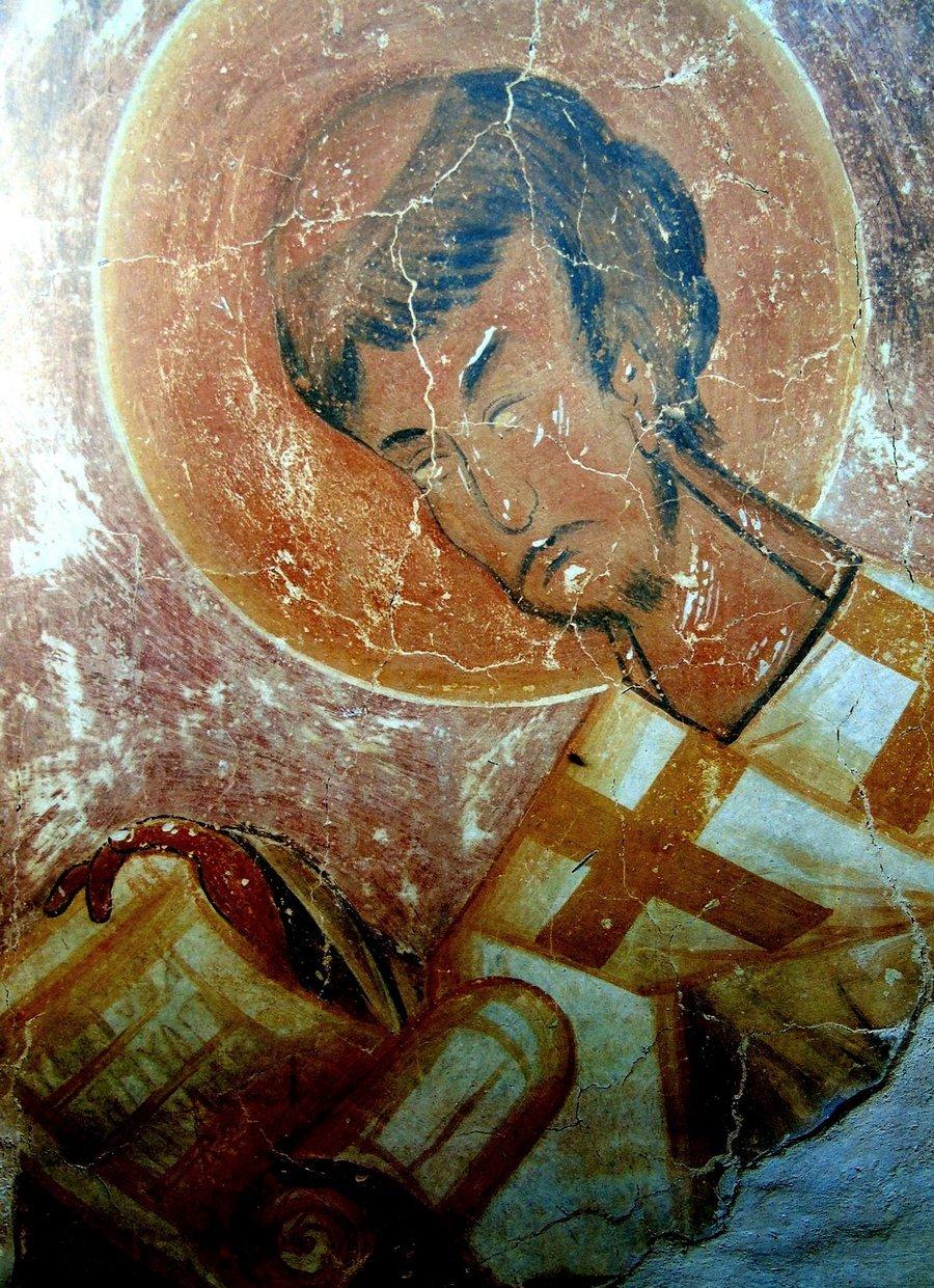 Священномученик Елевферий, Епископ Иллирийский. Фреска Феофана Грека в церкви Спаса Преображения на Ильине улице в Новгороде. 1378 год.