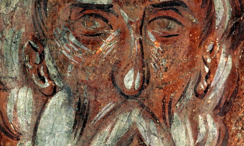 Святой Праотец Мелхиседек. Фреска Феофана Грека в церкви Спаса Преображения на Ильине улице в Новгороде. 1378 год.