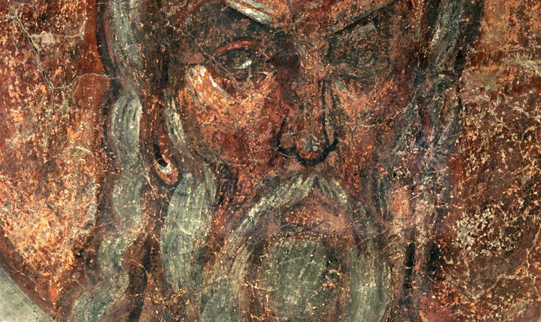 Святой Праотец Ной. Фреска Феофана Грека в церкви Спаса Преображения на Ильине улице в Новгороде. 1378 год.