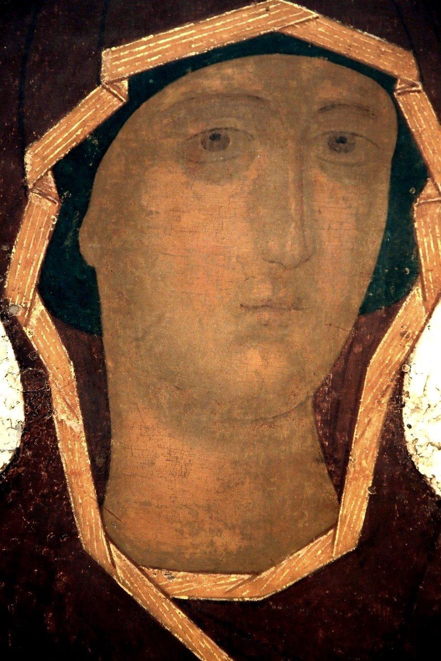 Богоматерь Одигитрия (Путеводительница). Икона Дионисия. Москва, 1482 год. Фрагмент.
