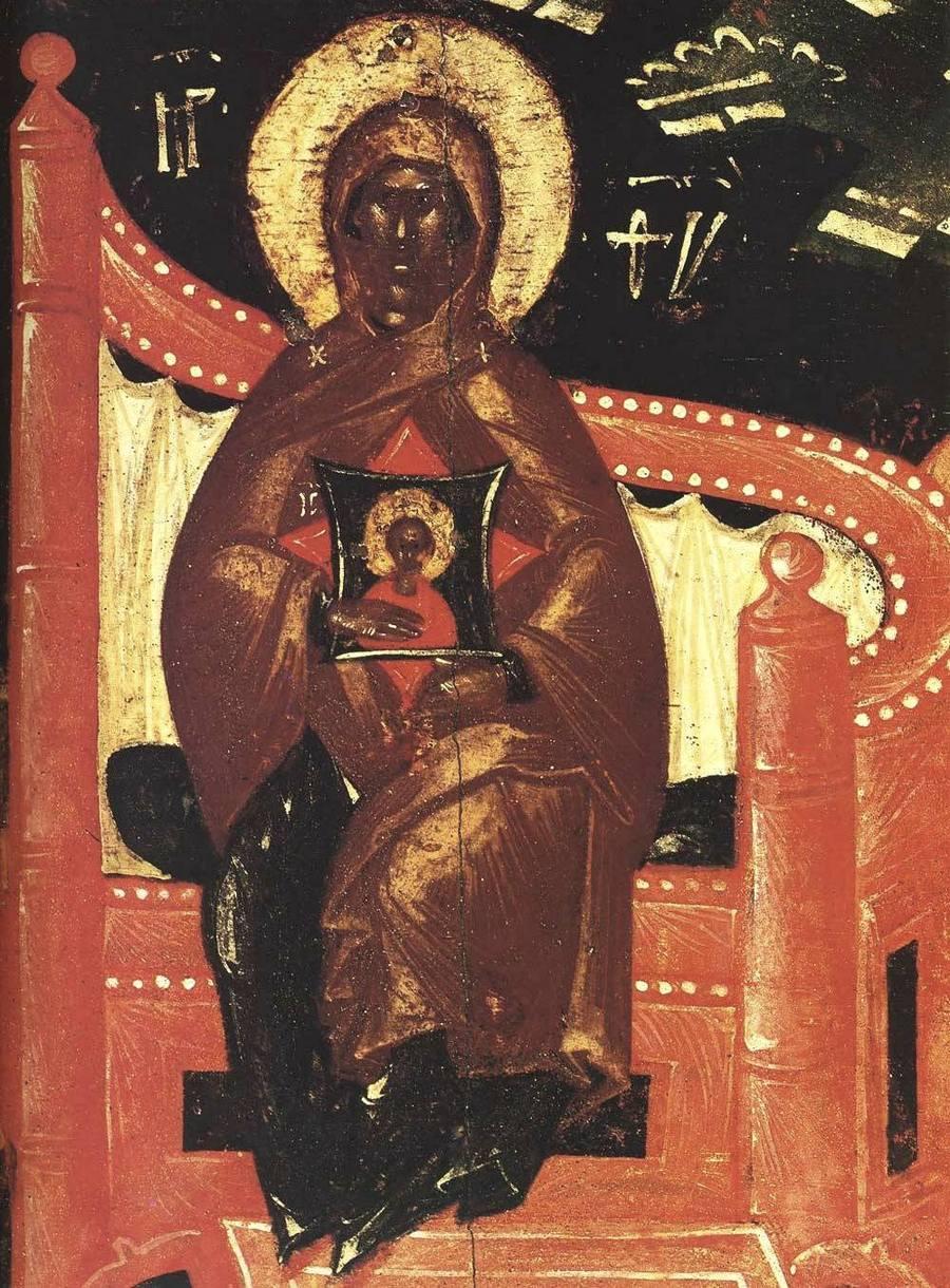 Собор Пресвятой Богородицы. Икона. Псков, конец XIV - начало XV века. Фрагмент.