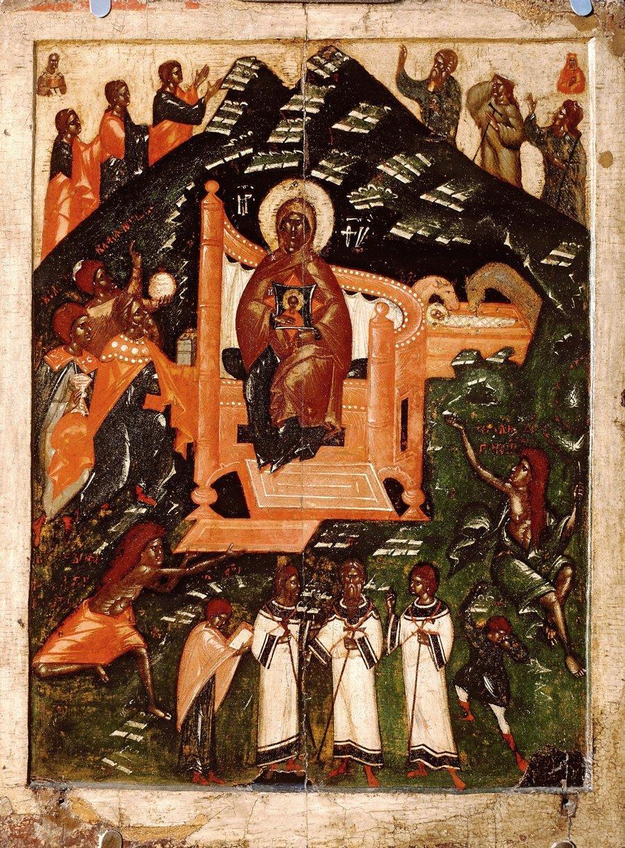 Собор Пресвятой Богородицы. Икона. Псков, конец XIV - начало XV века.