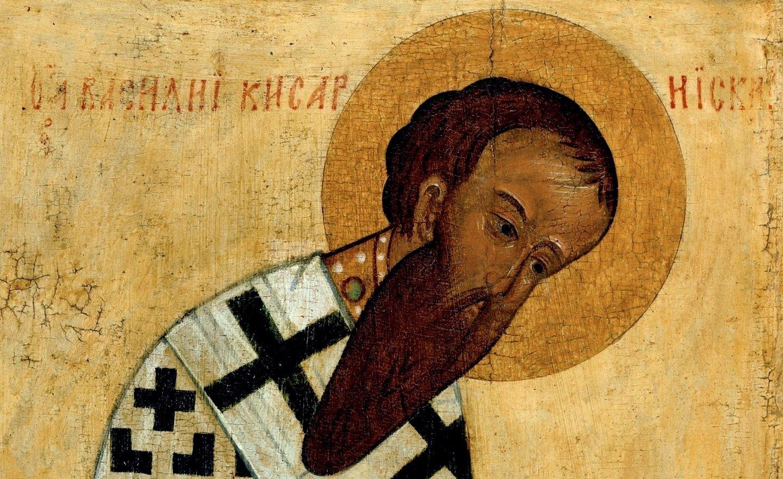 Святитель Василий Великий, Архиепископ Кесарии Каппадокийской. Фрагмент русской иконы XV века.