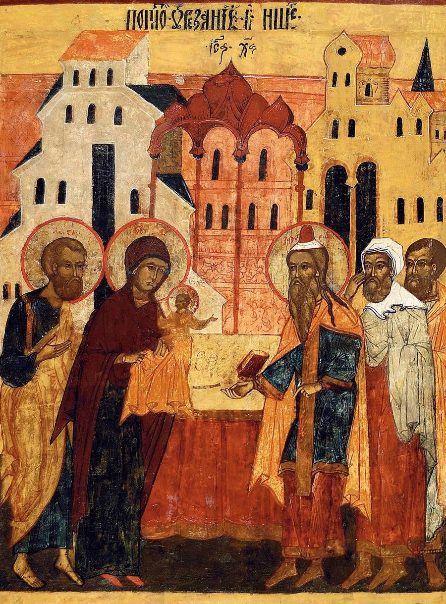 Обрезание Господне. Икона. Холмогоры, конец XVI века.