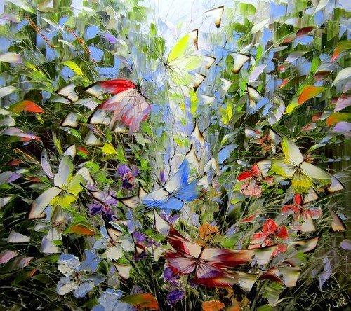 Дмитрий Кустанович. Бабочки над озером и травами.