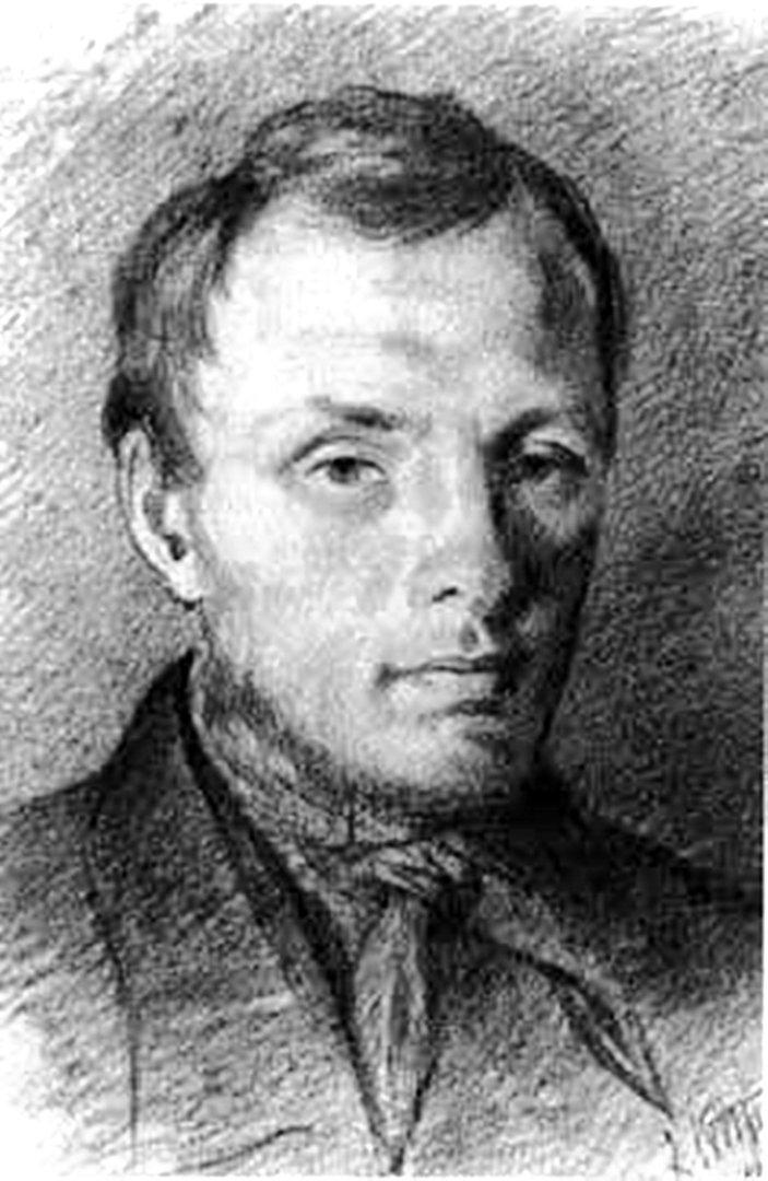 Достоевский в 26 лет, рисунок К. Трутовского, итальянский карандаш, бумага, (1847 год).