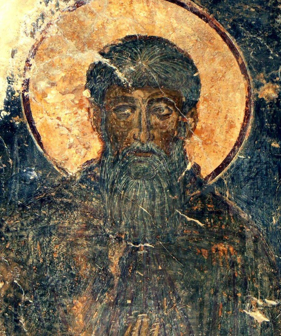 Святой Преподобный Арсений Великий. Фреска церкви Святого Пантелеимона в Пиги на Крите.