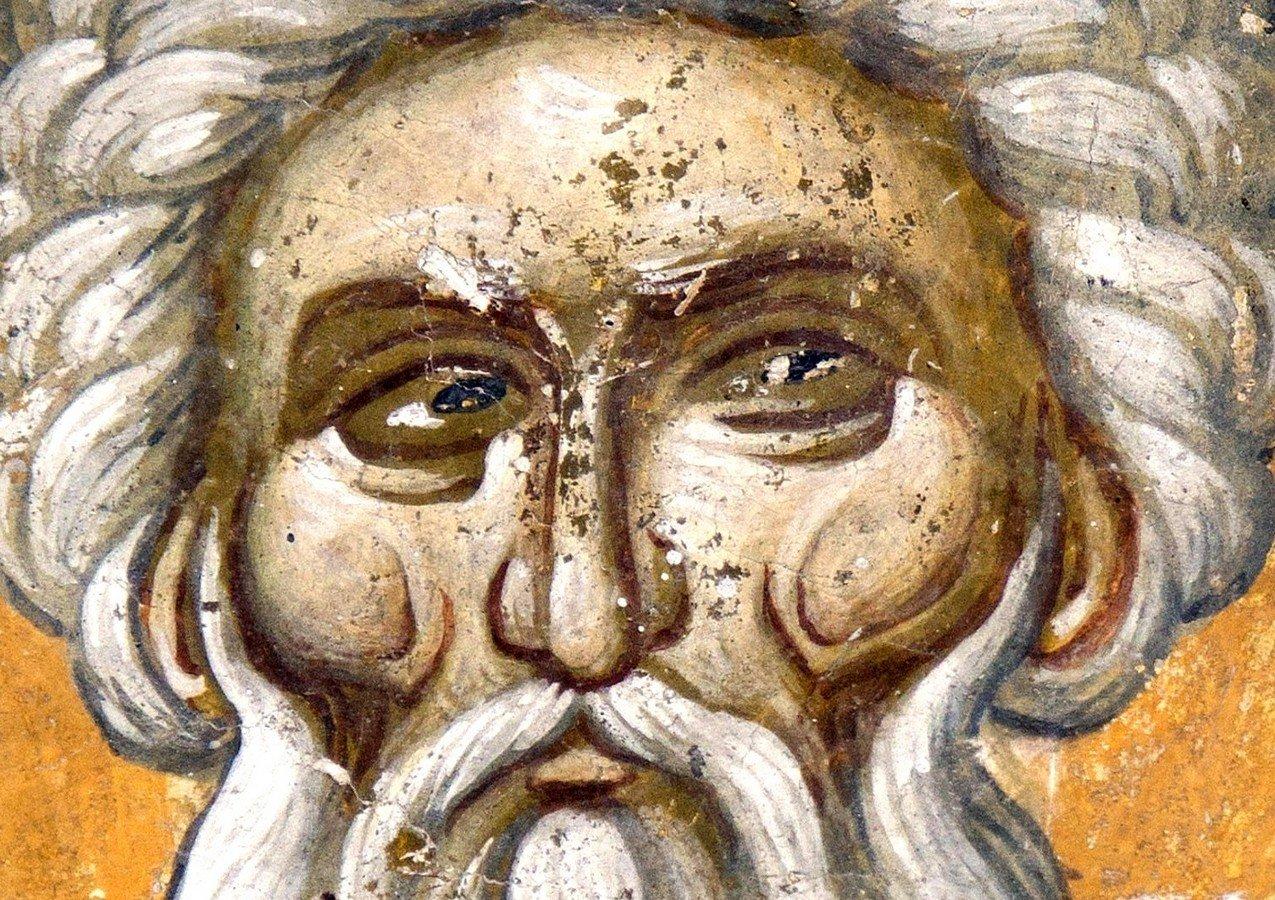 Святой Преподобный Арсений Великий. Фреска церкви Спаса (Введения во храм) в селе Кучевиште, Македония. 1330 - 1340-е годы.