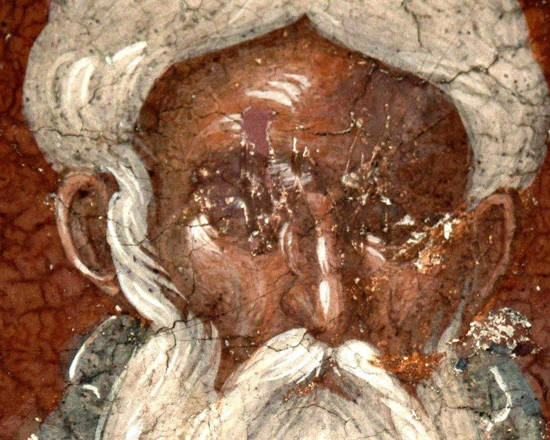 Святой Преподобный Арсений Великий. Фреска монастыря Святого Никиты в Чучере близ Скопье, Македония. Около 1316 года. Иконописцы Михаил Астрапа и Евтихий.