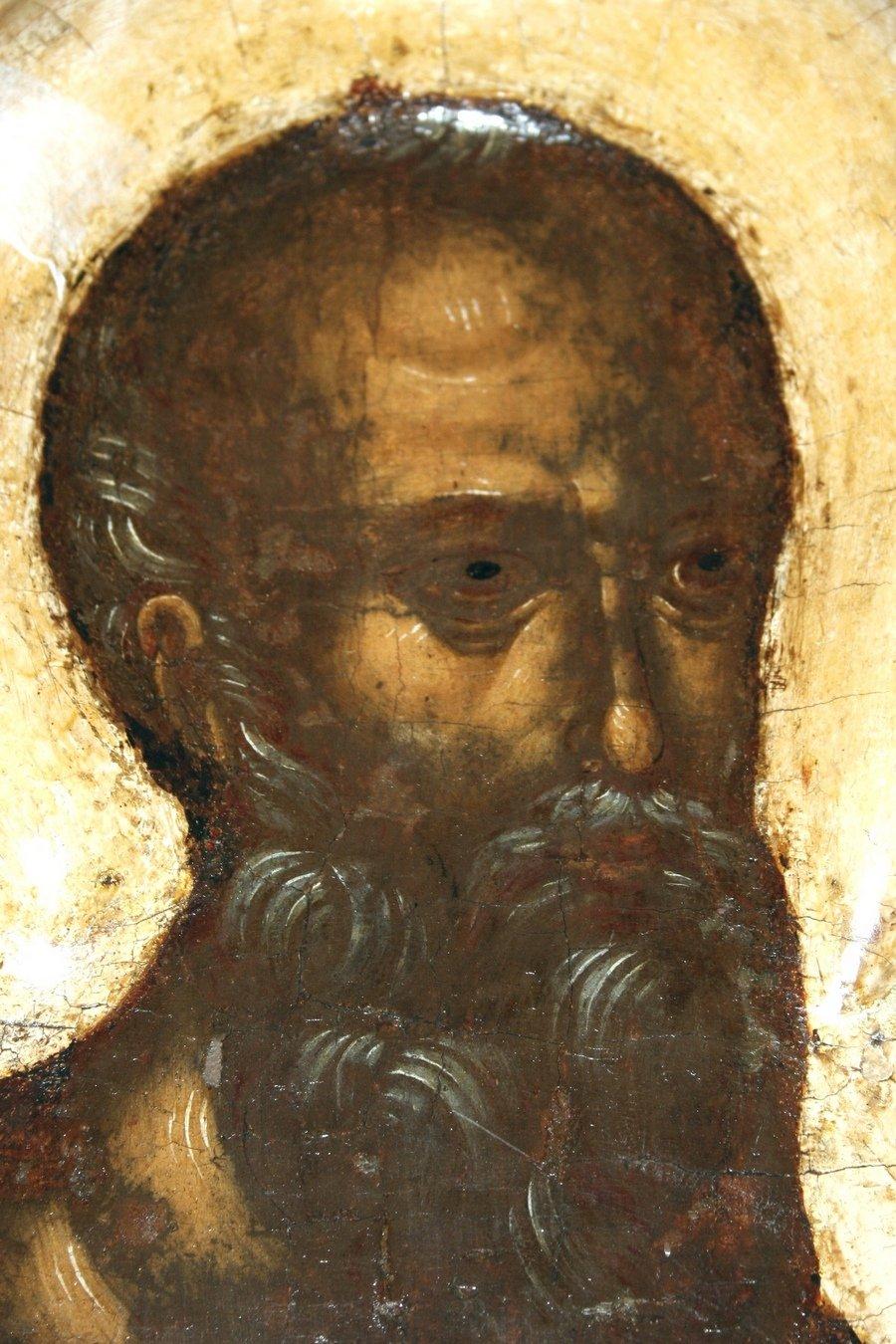 Святой Апостол и Евангелист Иоанн Богослов. Икона. Псков, около 1444 года. Фрагмент.
