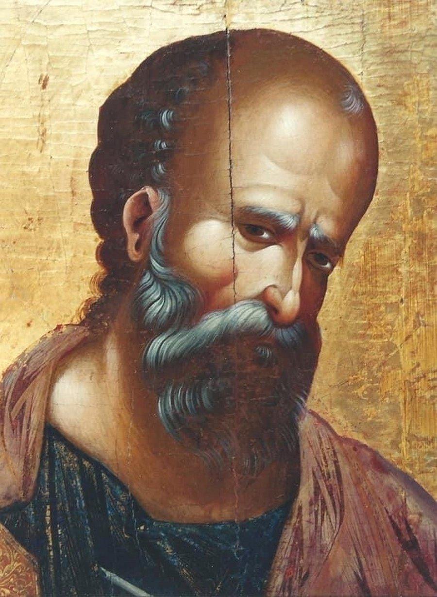 Святой Апостол и Евангелист Иоанн Богослов. Кипрская икона XVI века. Фрагмент.