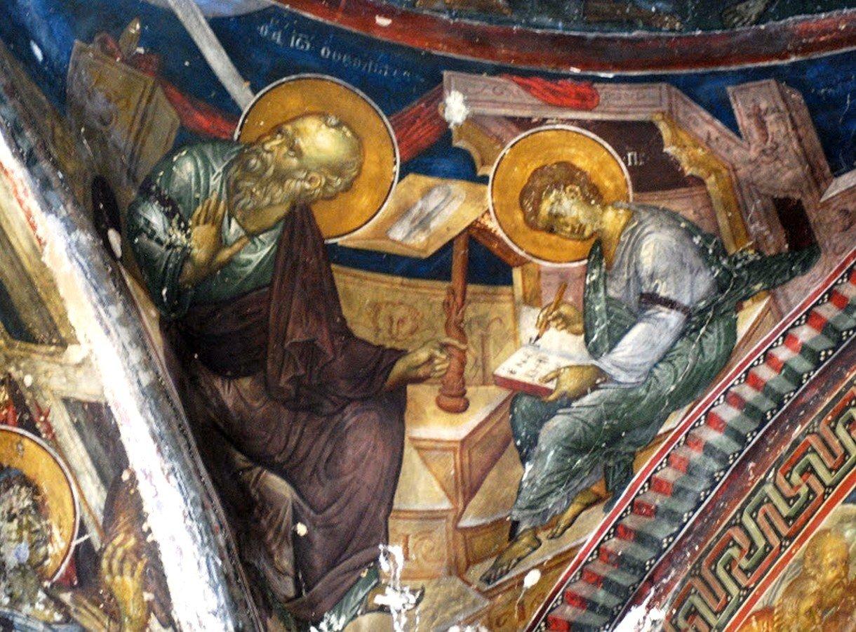 Святой Апостол и Евангелист Иоанн Богослов диктует текст Евангелия своему ученику Святому Прохору. Фреска церкви Честного Креста в Пелендри на Кипре. XIV век.