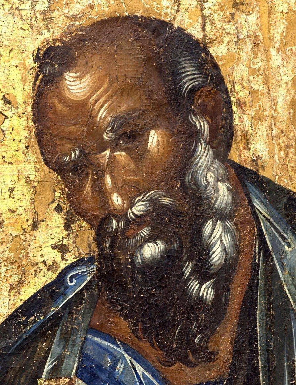 Святой Апостол и Евангелист Иоанн Богослов. Икона. Византия, 1370 - 1380-е годы. Византийский Церковный музей в Митилини, Греция. Фрагмент.