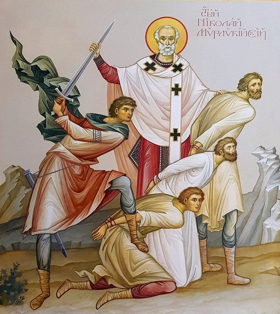 Святитель Николай Чудотворец избавляет от казни трёх невинно осуждённых. Современная церковная роспись.