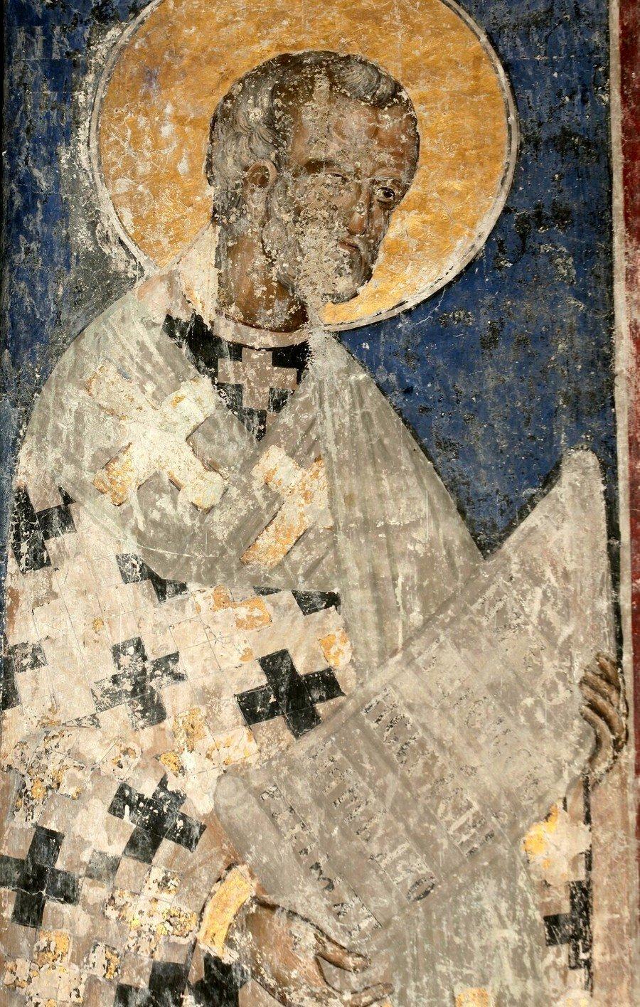 Святитель Николай, Архиепископ Мир Ликийских, Чудотворец. Фреска церкви Святой Троицы в монастыре Манасия (Ресава), Сербия. До 1418 года.