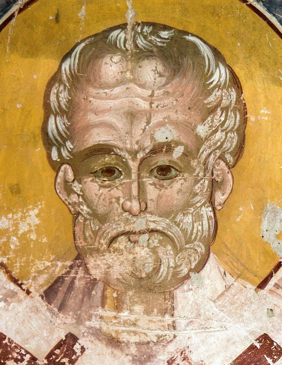 Святитель Николай, Архиепископ Мир Ликийских, Чудотворец. Фреска собора Рождества Пресвятой Богородицы в монастыре Гелати, Грузия.