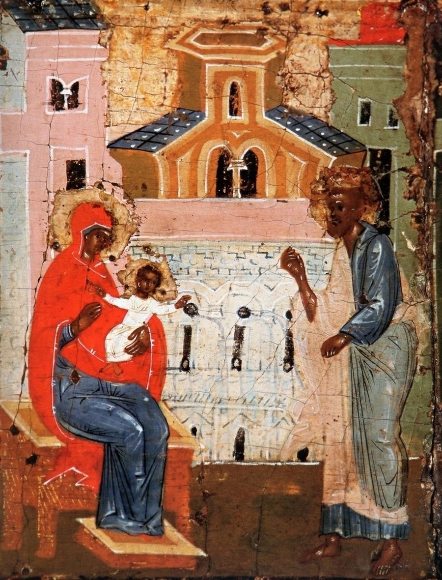 Святитель Николай Чудотворец во младенчестве отказывается от материнского молока по постным дням.