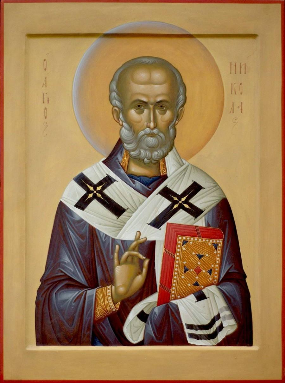 Святитель Николай Чудотворец, Архиепископ Мир Ликийских. Современная икона.