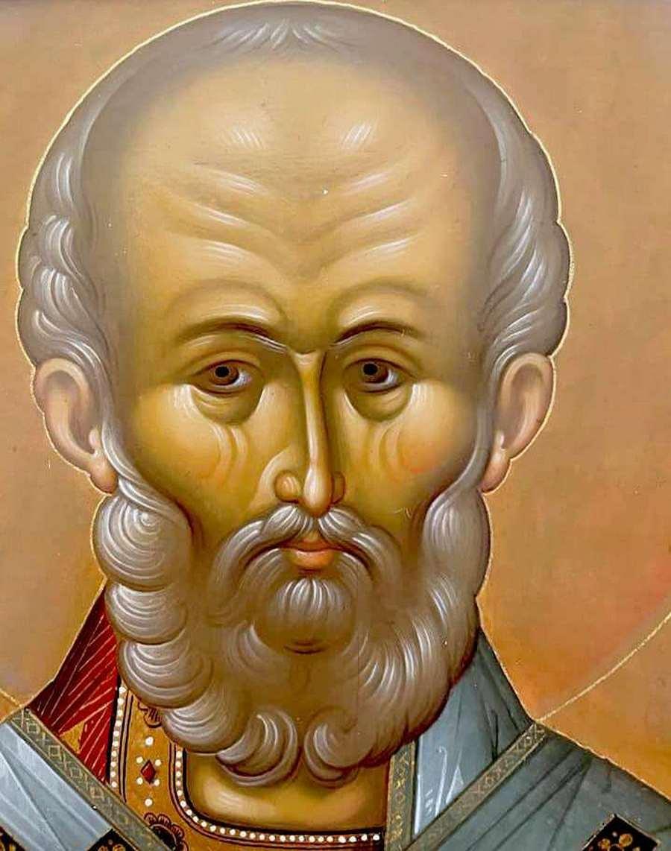 Святитель Николай Чудотворец, Архиепископ Мир Ликийских. Современная икона. Фрагмент.