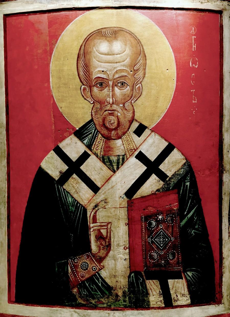 Святитель Николай Чудотворец, Архиепископ Мир Ликийских. Икона. Новгород, XIII век. ГЭ.