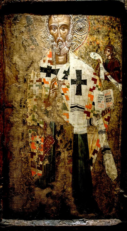 Святитель Николай Чудотворец, Архиепископ Мир Ликийских. Икона XV века. Происходит из города Верия (греческая часть Македонии). Византийский музей в Афинах.