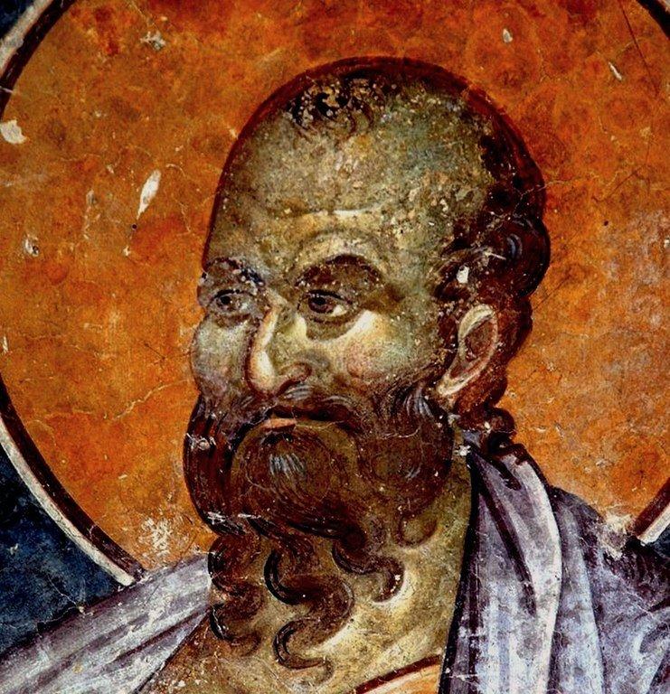 Святой Пророк Елисей. Фреска церкви Святых Иоакима и Анны (Королевской церкви) в монастыре Студеница, Сербия. 1314 год.