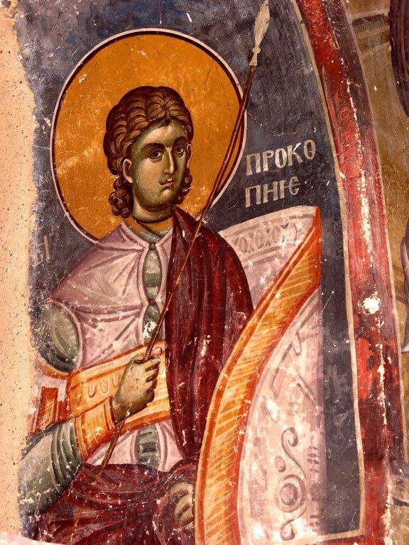 Святой Великомученик Прокопий. Фреска церкви Святых Иоакима и Анны (Королевской церкви) в монастыре Студеница, Сербия. 1314 год.
