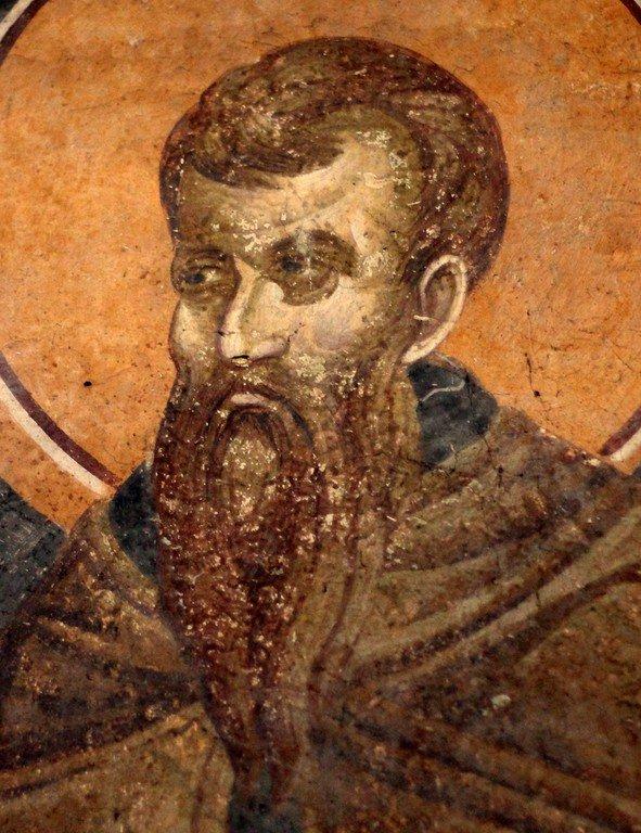 Святой Преподобномученик и Исповедник Стефан Новый. Фреска монастыря Грачаница, Косово, Сербия. Около 1320 года.
