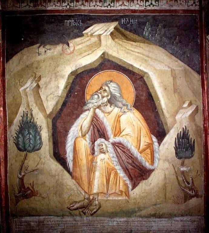 Святой Пророк Илия в пустыне. Фреска монастыря Грачаница, Косово, Сербия. Около 1320 года.