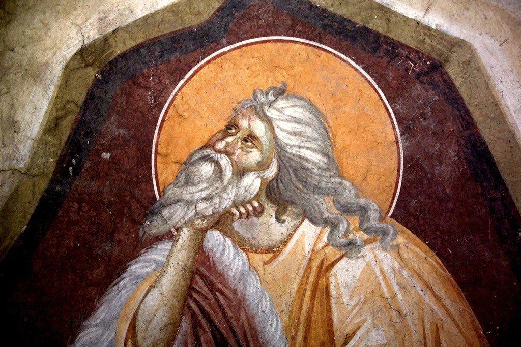 Святой Пророк Илия в пустыне. Фреска монастыря Грачаница, Косово, Сербия. Около 1320 года. Фрагмент.